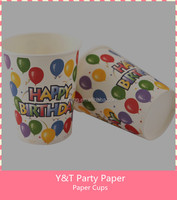 Happy birthday Balloon Disposable paper cups Birthday Party Table Ware 10pcs Set
