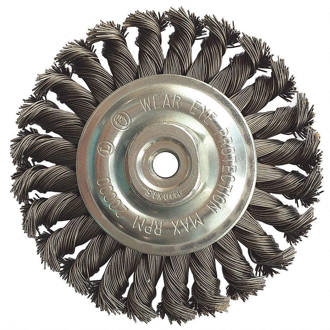 "4"" Knotted Wire Wheel Brush, Arbor Hole Mounting, 0.020"" Wire Dia, 7/8"" Bristle Trim Length, 1 EA"