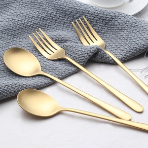 Bulk Matt Flatware Stainless Steel Spoon Fork Brushed Matte Gold Plated Cutlery Set