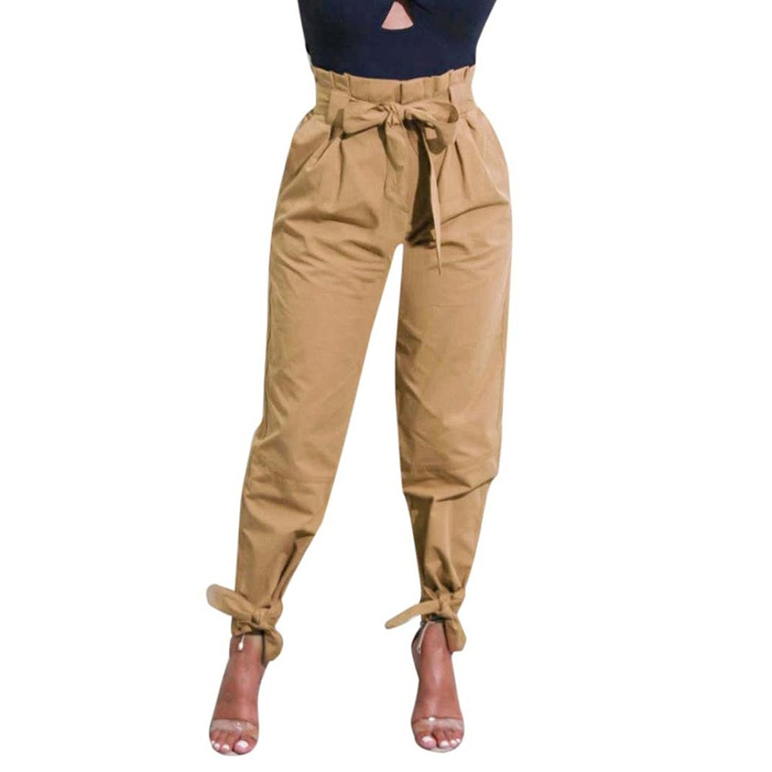 48e39427ee Get Quotations · RAISINGTOP Women Ladies Belted High Waist Trousers Long  Ladies Party Baggy Casual Lounge Pants Ankle Length