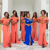 African Women Coral Off Shoulder Side Split Mermaid Long Bridesmaid Dresses For Wedding 2018