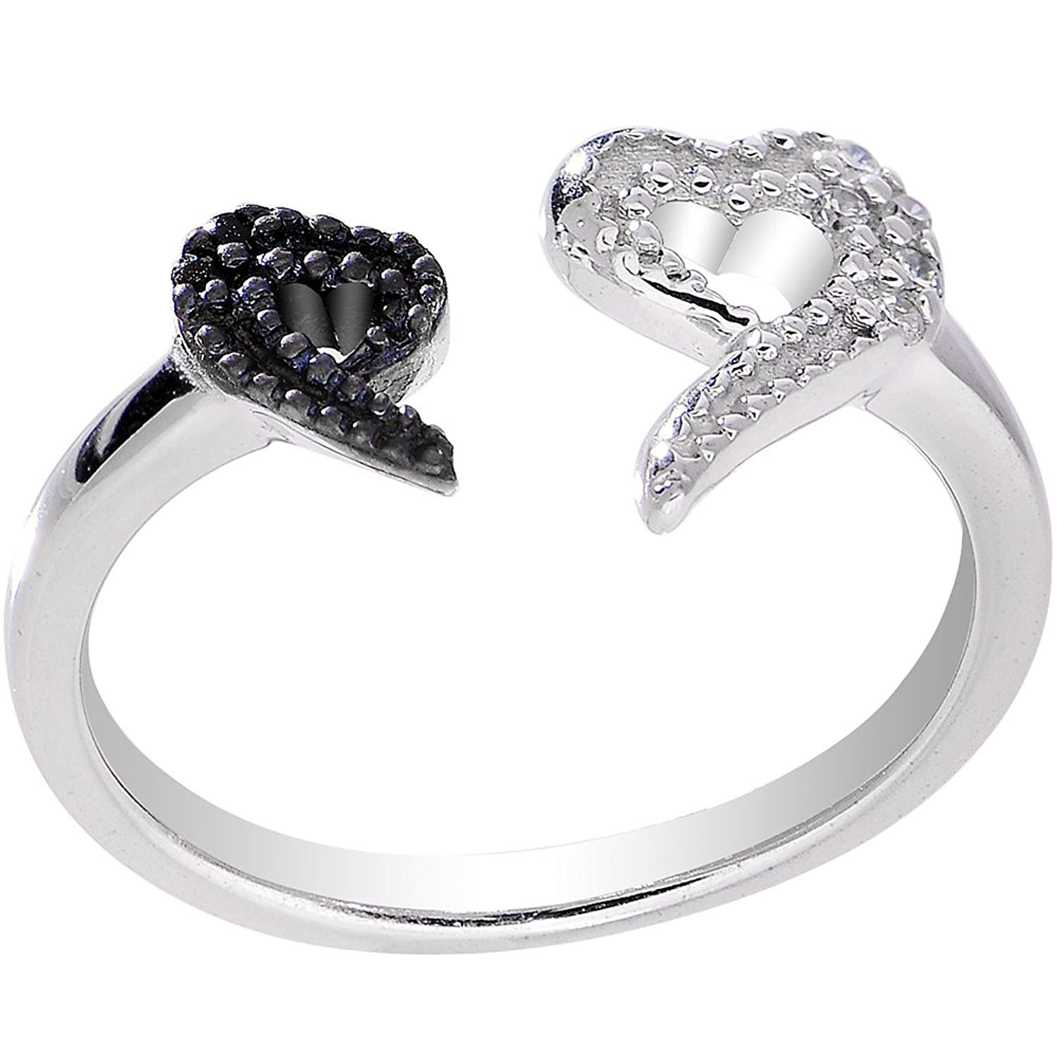 Body Candy 925 Sterling Silver Clear Black Dual Snake Heart Toe Ring