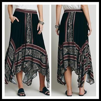Ladies Fashion Long Skirt Printed Rayon Indian Dancing Flare ...