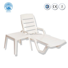 2018 Popular Outdoor Furniture Beach White Plastic Sun Lounger