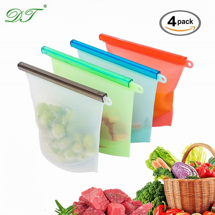 Custom Logo Reusable Silicone Food Vacuum Storage Preservation Freezer Bag, Customized pantone color