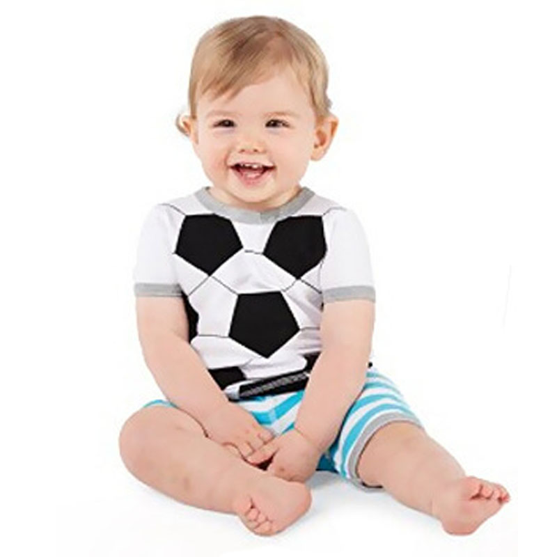 2015 Summer Baby Boys Girls Sports Clothing Sets Football T-shirt &Short Striped Pants Summer Children's Clothing Suits CF110