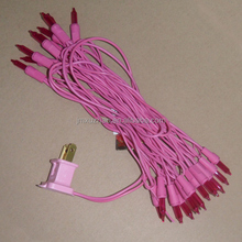UL 120V 20L Mini Incandescent /Pink wire red color christmas lights