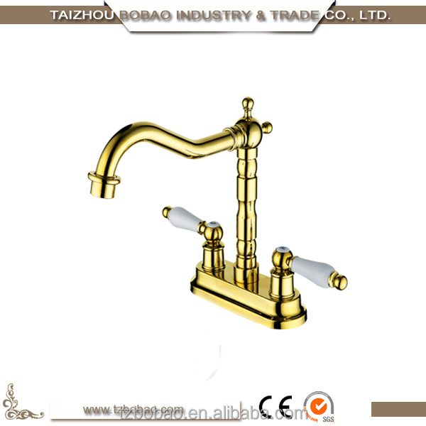 Elegant Crystal Decorative Gold-plated Deck Mount Hot And Cold Antique Kitchen Faucet Ceramic Handle Rose Gold Kitchen Tap