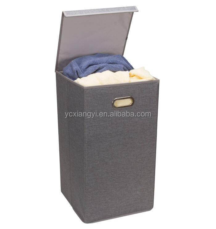 gro e robust falten w schekorb w schekorb sorter korb bin mit deckel coffee leinen. Black Bedroom Furniture Sets. Home Design Ideas