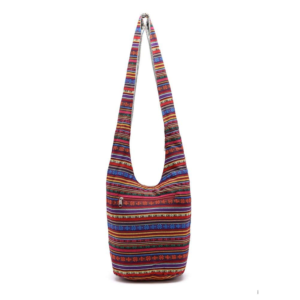 ec38f4c0594 KARRESLY Bohemian Cotton Hippie Shoulder Bag Thai Top Zip Sling Crossbody  Bag Hobo Bag Handmade Messenger