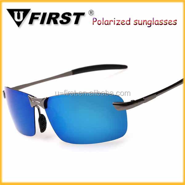 New design cool handsome men black frame and lens aluminum mens polarized sunglasses