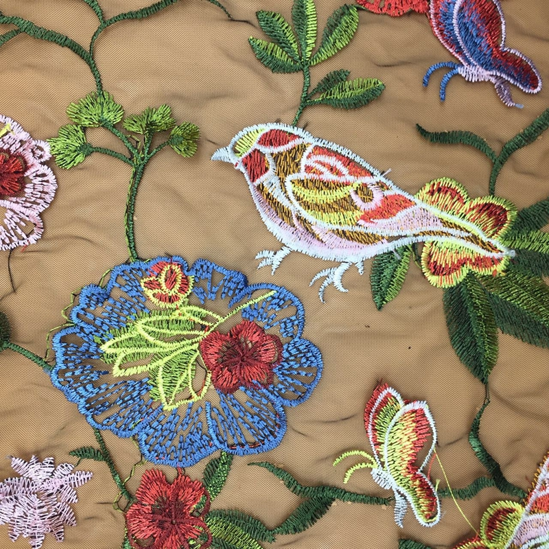 China Supply High Quality New Design Flower Forest Bird Embroideried Swiss Voile Lace In Switzerland