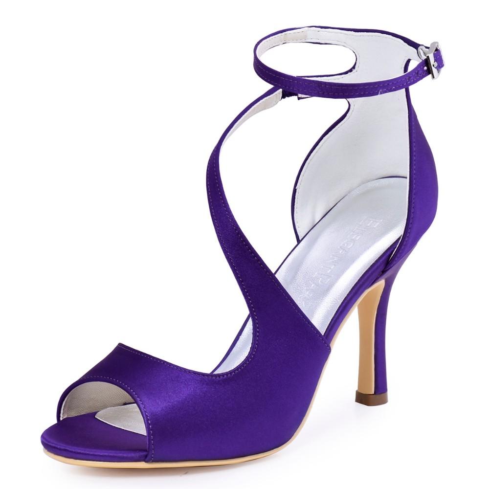 5979d726204d56 Woman High Heel Ankle Strap Sandals Teal Purple Peep Toe Bridesmaid ...