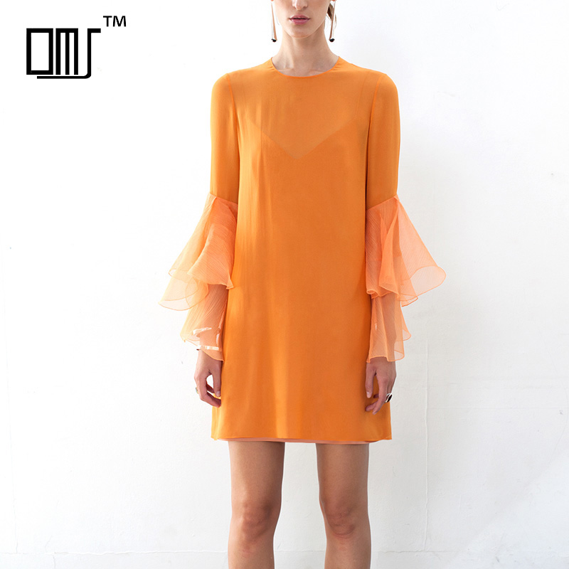 Flare Sleeve Fashionable Shift Dress For Women 2018 Orange Short