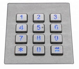 waterproof stainless steel industrial keypad IP65 vandal proof backlight