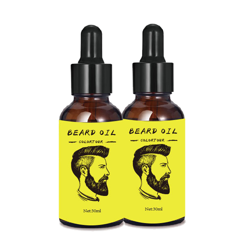 Colortour Low MOQ best organic beard oil OEM/ODM Private label mustache beard grown oil beard grooming kit, Transparent oil liquid