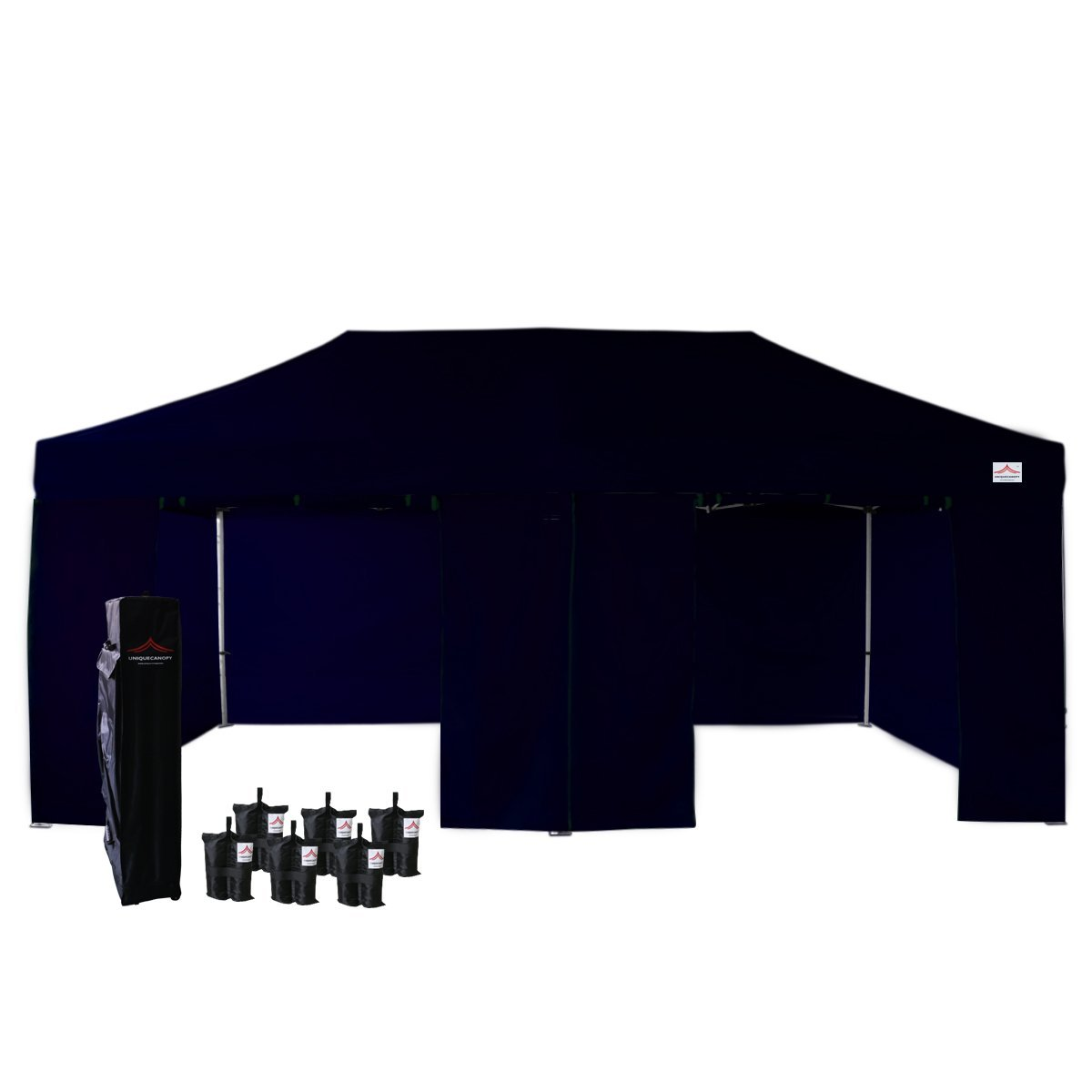 UNIQUECANOPY Enhanced 10x20 Ez Pop up Canopy Instant Tent Outdoor Gazebo Party Portable Wedding Party Show Tent with 6 sandy bags and 4 Zippered Side Walls and Wheeled Carrying Bag Navy Blue