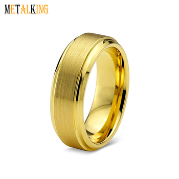 Tungsten Wedding Band Ring 6mm for Men Women Comfort Fit 18K Gold Plated Step Beveled Edge Brushed Polished
