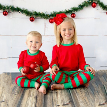 baby girls boys christmas pajamas set kids striped xmas cotton pjs children 2pcs clothing set family