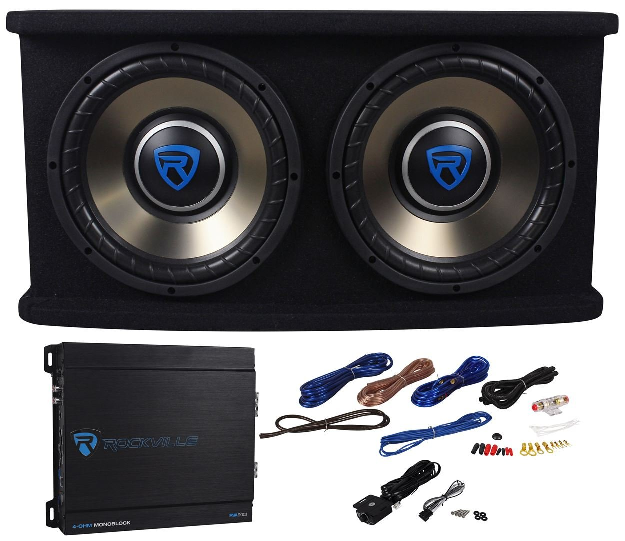 Buy Rockville Rvspl102 Dual 10 1500w Car Subwoofer Sub Box Amp Wiring Audio Amplifiers For Two