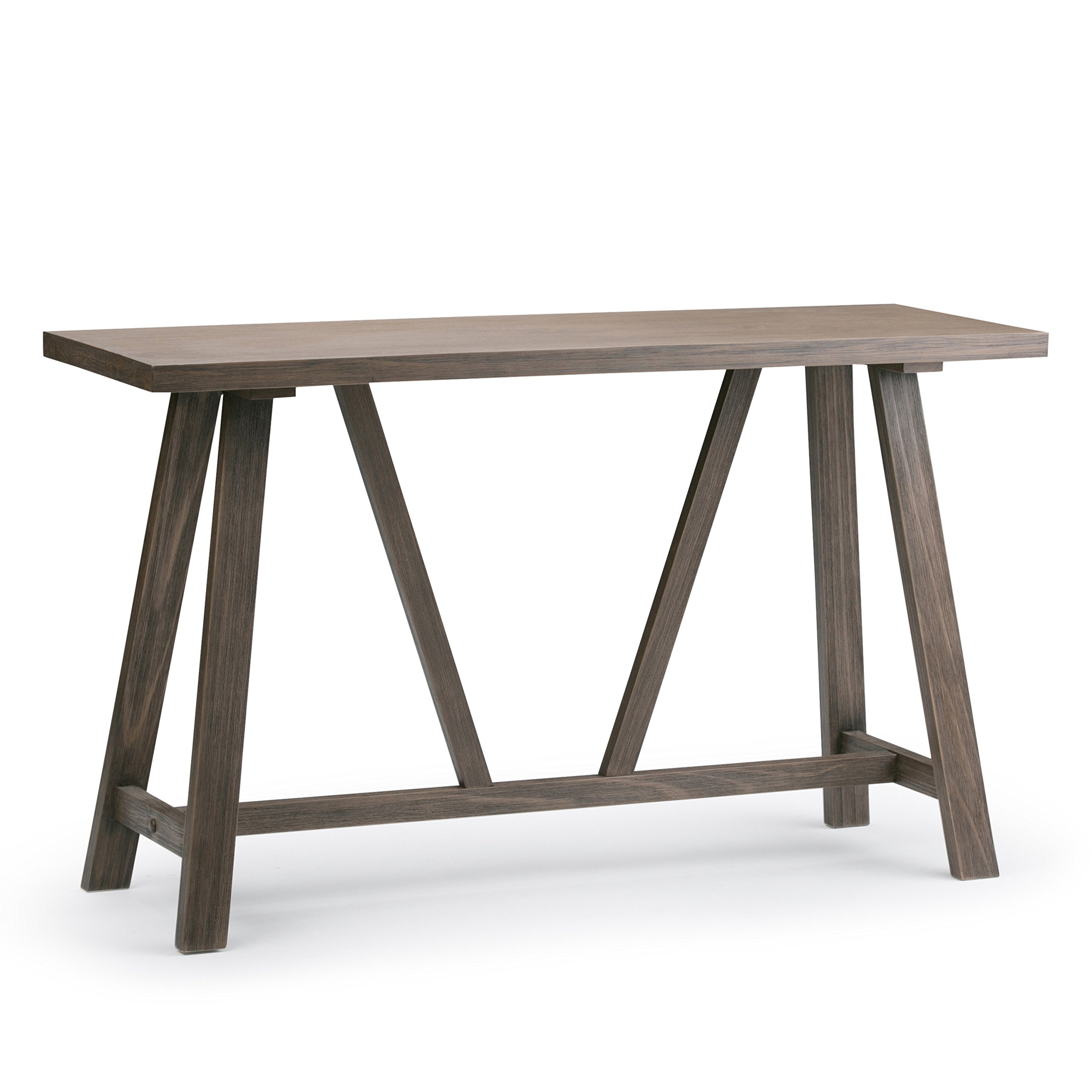 Simpli Home Dylan Solid Wood Console Sofa Table, Driftwood