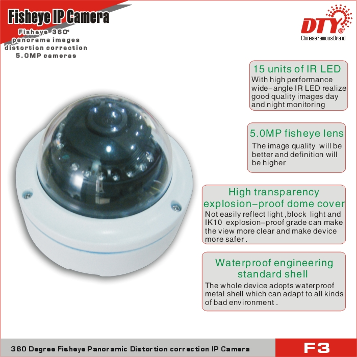 360 degree fisheye Wi-Fi IP Camera, dual lens car dvr camera,all in one ip network camera,F3