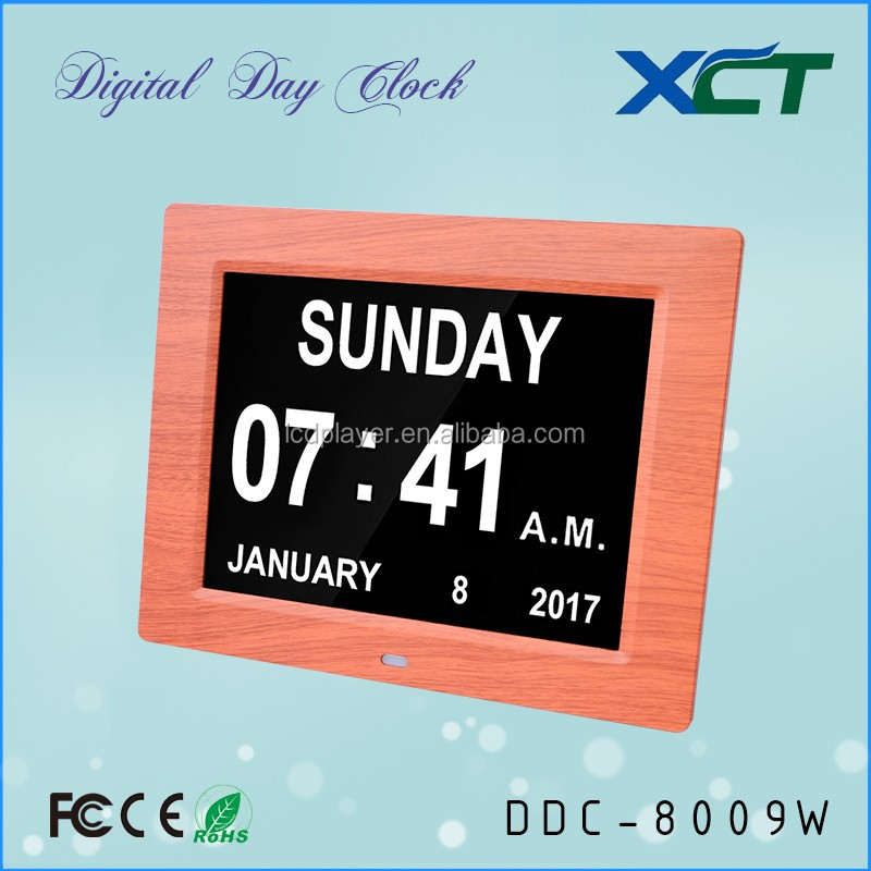 8 inch wooden grain transfer printed plastic window wll clock for seniors for elderly for dementia for memory loss DDC-8009W
