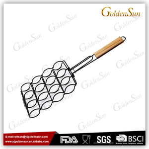 Non Stick Coating Wood Handle Corn BBQ Grilling Basket