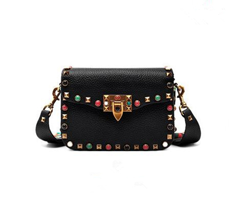 Small solid bag genuine leather shoulder long strip bags for girls YF170616