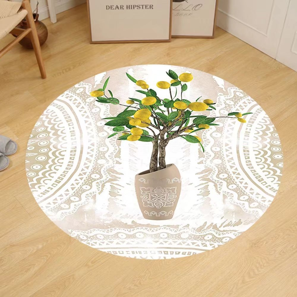 Gzhihine Custom round floor mat Floral Lemon Tree Traditional Tiles Paisley Vintage Style Floral Flowerpot Ceramic Vase Pattern Theme Home Decor Satin Fabric Beige Yellow Green