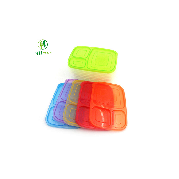 PP <strong>Plastic</strong> FDA Approved PP 3 compartments Bento Lunch Box 6 Pcs/Set