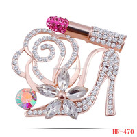 Lipstick And Crystal Shoes Brooches For Women 18K Gold Plated Jewellery Rhinestone Pins And Brooches Luxury Collar Pin
