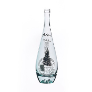 Promotional custom 750ml round long neck vodka glass bottle
