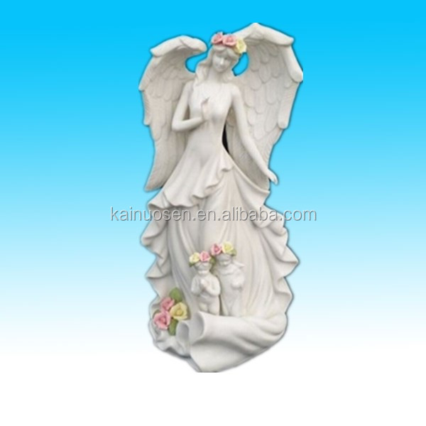 Vintage art deco ceramic white angel statue figure