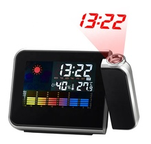 KH-CL002 Colorful LCD Smart Elektronik Desktop Meja Meja LED Laser Langit-langit Proyeksi Digital <span class=keywords><strong>Jam</strong></span> <span class=keywords><strong>Alarm</strong></span> dengan Weather Station