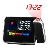 KH-CL002 Colorful LCD Smart Electronic Desktop Table Desk LED Laser Ceiling Digital Projection Alarm Clock with Weather Station