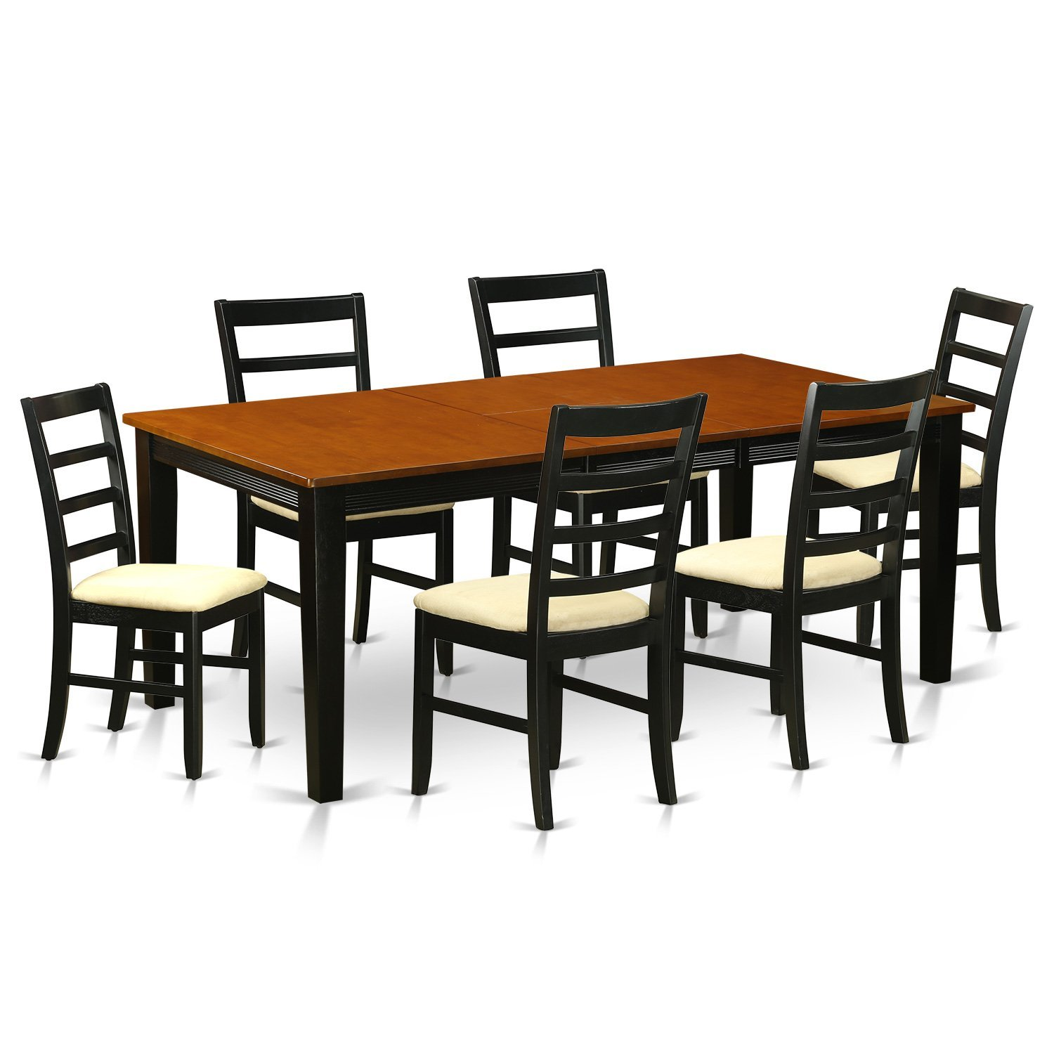 East West Furniture QUPF7-BCH-C 7 Piece Dining Table with 6 Solid Wood Chairs Set