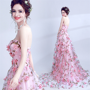 Full Flower Appliqued Sexy Off-Shoulder Long A Line Evening Gown Evening Dress