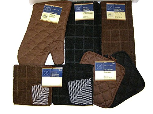 Bundle of Kitchen Linens by Home Collection Featuring: Kitchen Towels, Pot Holders, Oven Mitt, Dishcloths (7, Solid Brown & Black)