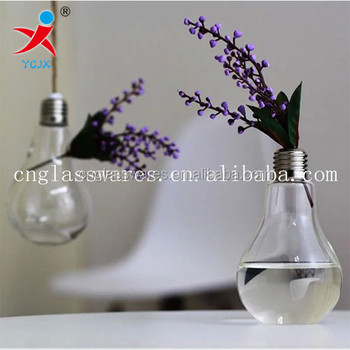 Handblown Clear Glass Light Bulb Vase For Homewedding Decoration