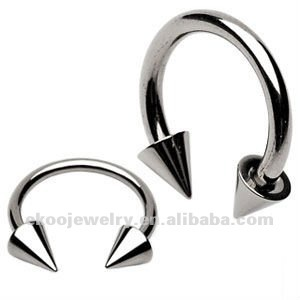 G23 Titanium Body Piercing Highly Polished Titanium Horseshoe Circular Barbell Cone