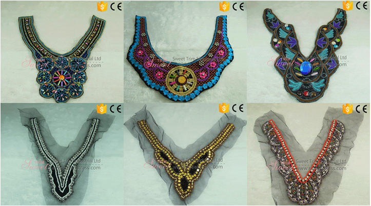 Dress collar trimming machine embroidery neck lace designs