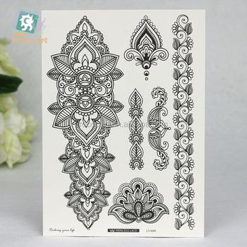 Ls 604 Fashional Waterproof Black Henna Temporary Mandala Flower