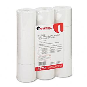 """Universal : Single-Ply Adding Machine/Calculator Rolls, 16lb, 2-1/4"""" x 150 ft, White, 12/PK -:- Sold as 2 Packs of - 12 - / - Total of 24 Each"""