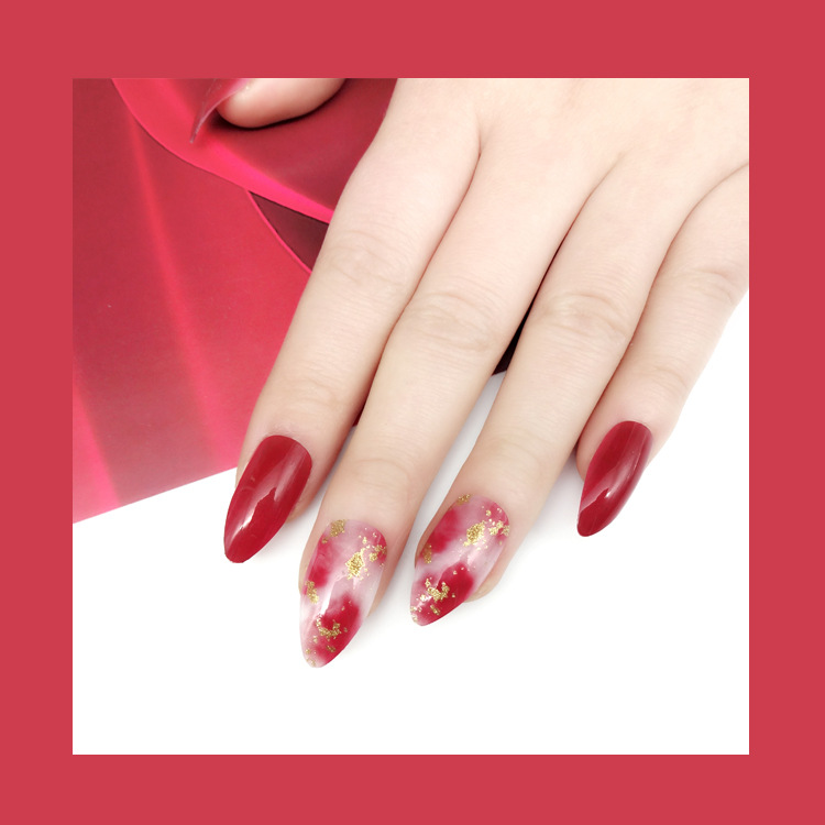 Fashion Trend Red Wine Blooming Fantastic Color Pre-designed False Nails 24 tips/box