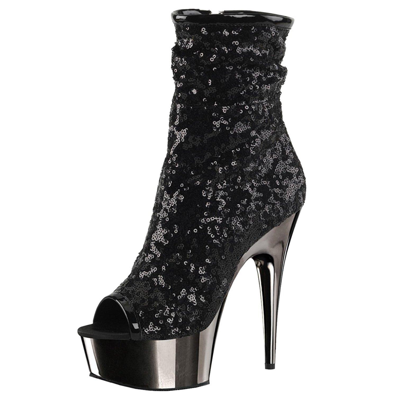 b8fa85fc17ca Get Quotations · Summitfashions Womens Black Sparkly Heels Sequin Platform  Boots Peep Toe Shoes 6 inch Heels