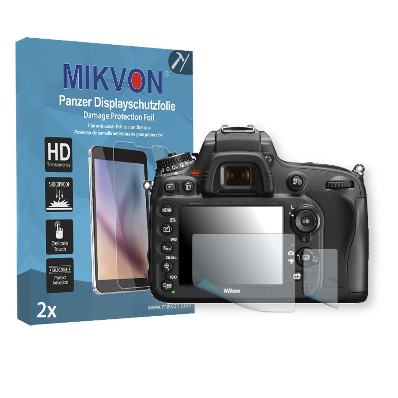 2x Mikvon Armor Screen Protector for Nikon D600 screen fracture protection film - Retail Package with accessories