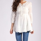 New Design Autumn Casual Long Sleeve Cotton Top Lady Blouse