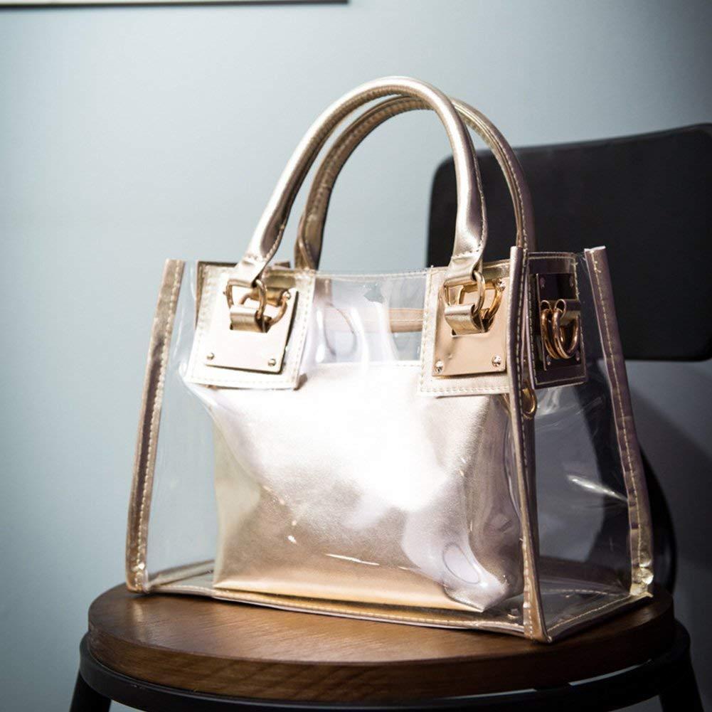cyclamen9 Beach Bag Clear Tote Bag,See Through Messenger Bag Transparent Shoulder Bag for Beach Travel