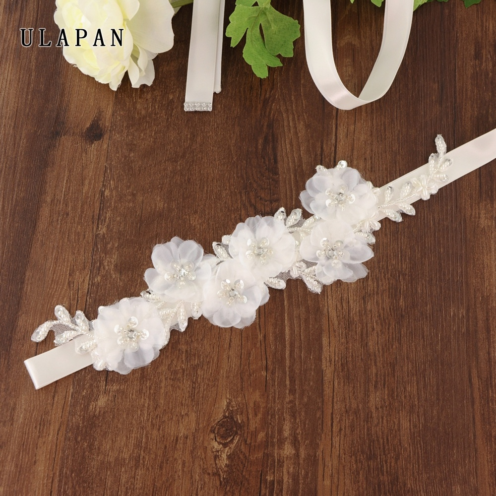 wholesa crystal Sequin beading dress sash Sequin white flower belt for wedding dress photo props wedding belt